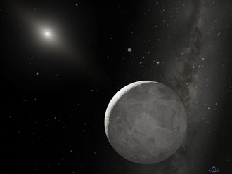 Artist's concept of the Kuiper Belt Object nicknamed Xena, with moon Gabrielle